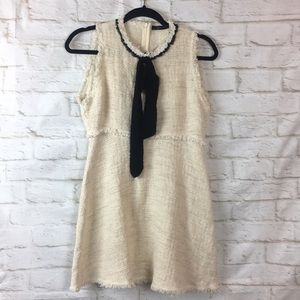 Zara Knit Cream Dress Black Neck Bow Tie